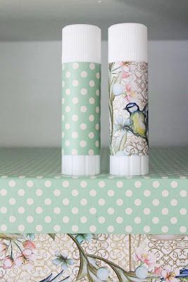 Pimp your glue sticks!  This would be cute if you were putting together craft kits for a craft get together.