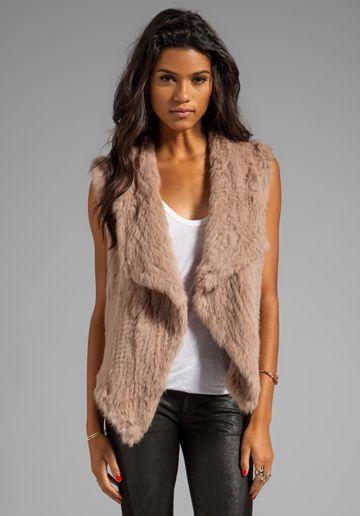 NICHOLAS Knitted Fur Vest in Nude