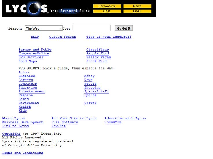 Lycos website in 1997