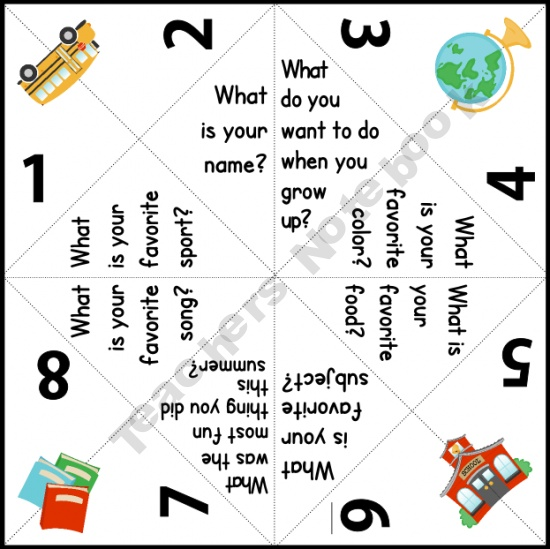 Getting to know you Cootie Catcher for back to school.| Teachers Notebook