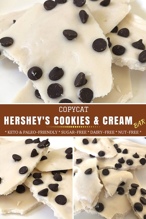 If you've ever had a Hershey's cookies and cream bar (or Hershey's Cookies 'N' Creme bar), you either love them or hate them. I personally love them but don't love how unhealthy they are (there is TONS of sugar in them and they also contain wheat-flour believe it or not as well as dairy, obviously). So I made a recipe for a healthier version of the sweet treat! #sugarfree #ketorecipes #dairyfree #glutenfreerecipes