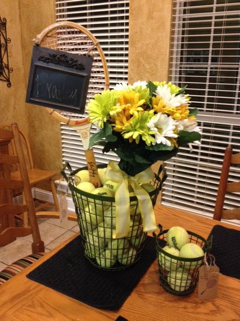 Love the small basket to hold tennus balls Center piece for tennis party or match...thinking of you, Trish.