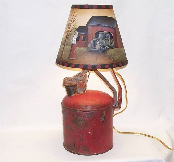 Table lamp vintage justrite oil can hand painted shade ...