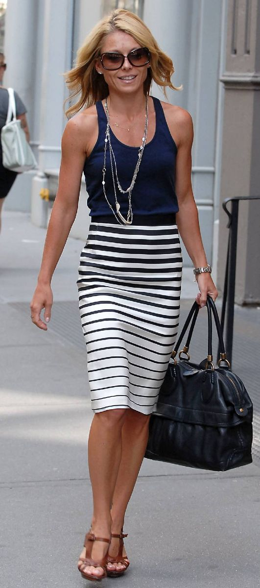 Kelly Ripa in a Splendid navy tank and navy and white striped Splendid skirt. Stitch Fix 2016 Summer Fashion