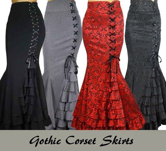BlueBerryHillFashions: Plus Size Gothic Steampunk Skirts | Side Corseted Skirt with Ruffle Mermaid Flare | xs to 4x