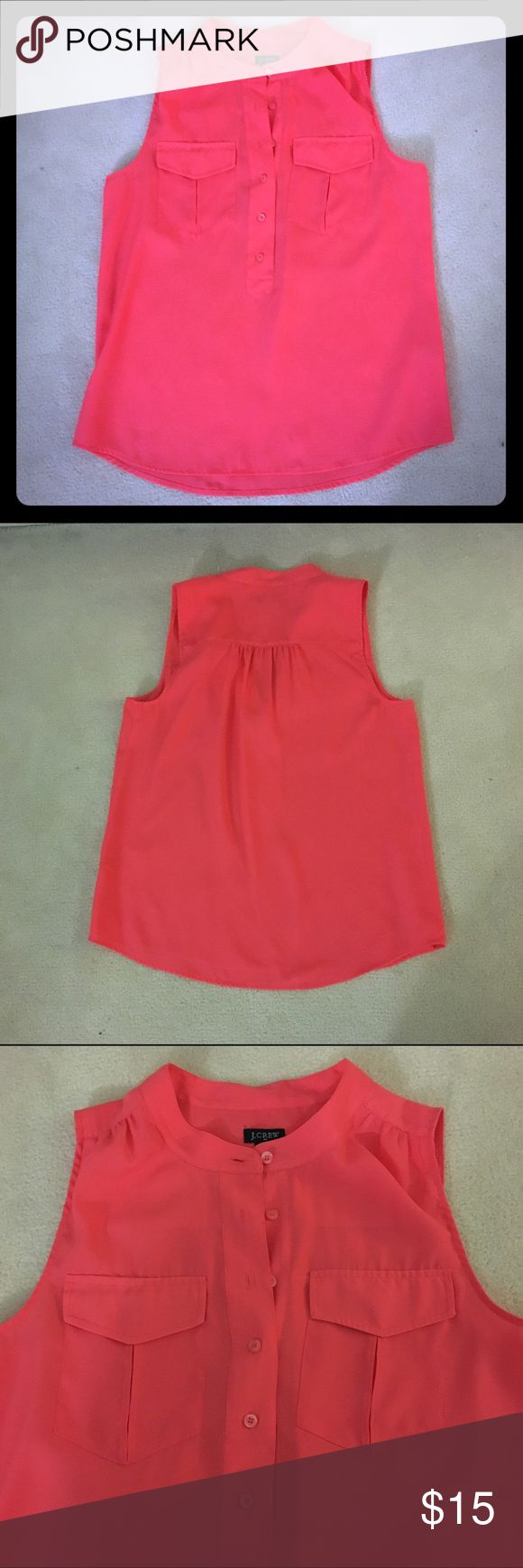 J.Crew coral blouse, sleeveless, sz 6 Coral blouse, two breast pockets, buttons up halfway, banded collar J. Crew Tops Blouses