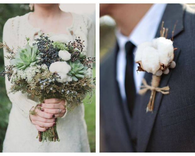 Sweet Violet Bride - http://sweetvioletbride.com/2012/12/cotton-wedding-bouquet-inspiration/