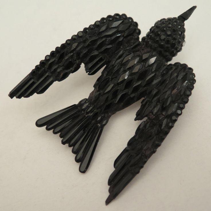 Victorian Black Bird Mourning Brooch