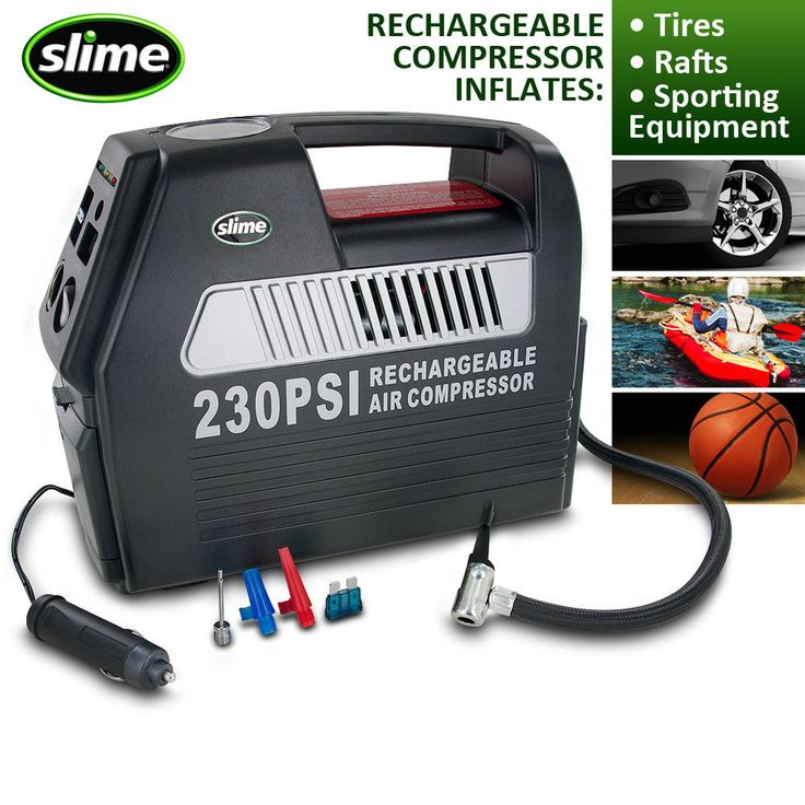 Slime Cordless Rechargeable 12-Volt Tire Inflator with Built-in Pressure Gauge #Slime