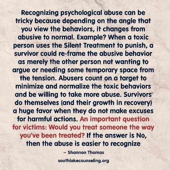 Wow....I wish I'd read this a long time ago. I often rationalised or normalised the behaviour of the narcissist in my life as a way of managing the unbearable pain of being punished....having done this time and time again, over many years it was impossible to know my reality. No wonder I still find it so difficult trust my own perception.