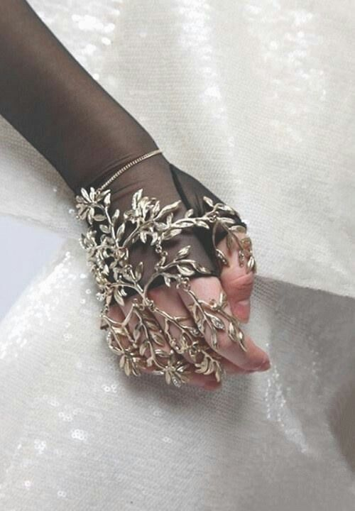 Steampunk Fashion; metal leaf hand jewelery.