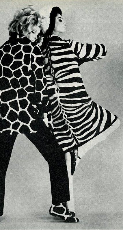 Guy Laroche, Vogue UK 1965 animal prints, zebra print  (please follow minkshmink on pinterest) #zebraprint #animalprint #fashion