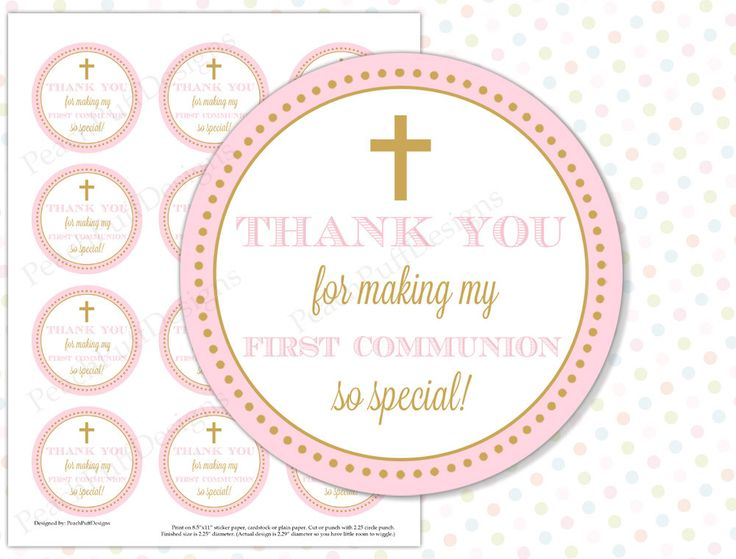 First Communion tags Pink (INSTANT DOWNLOAD) - First Communion gift tags - First Communion stickers - First Communion labels by PeachPuffDesigns on Etsy https://www.etsy.com/listing/233272452/first-communion-tags-pink-instant