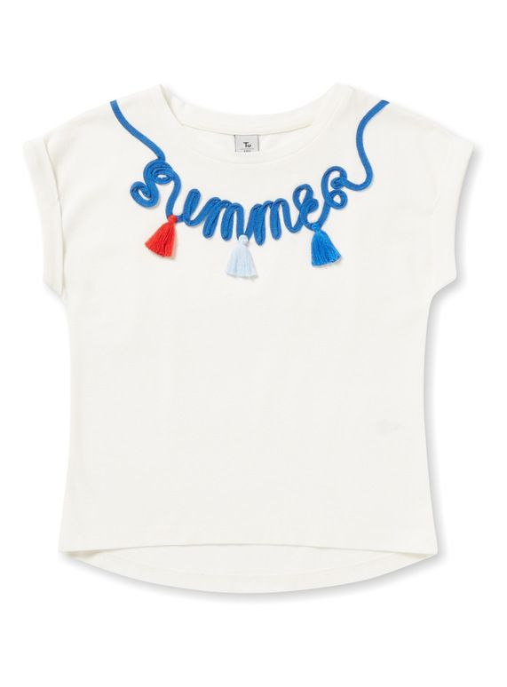 7bb24e00d3cc Cream Summer T-Shirt (3-14 years) from Tu at Sainsbury s ! Your Online Shop  for Girl s Tops   T-Shirts