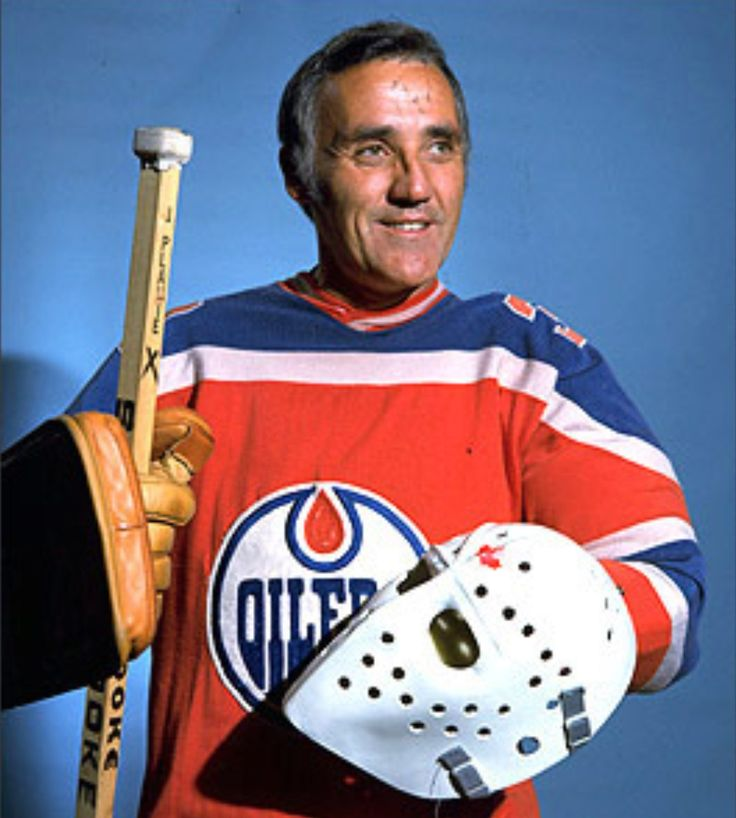 HHOF Goalie Jaques Plante with Edmonton Oilers(WHA) 1974