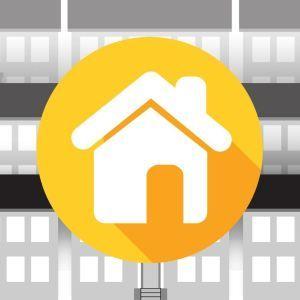 Grafiikka: taloa esittävä symboli, kerrostaloja.