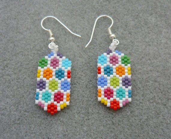 Handmade Bead woven unique earrings, made with miyuki delica beads in hexagon…