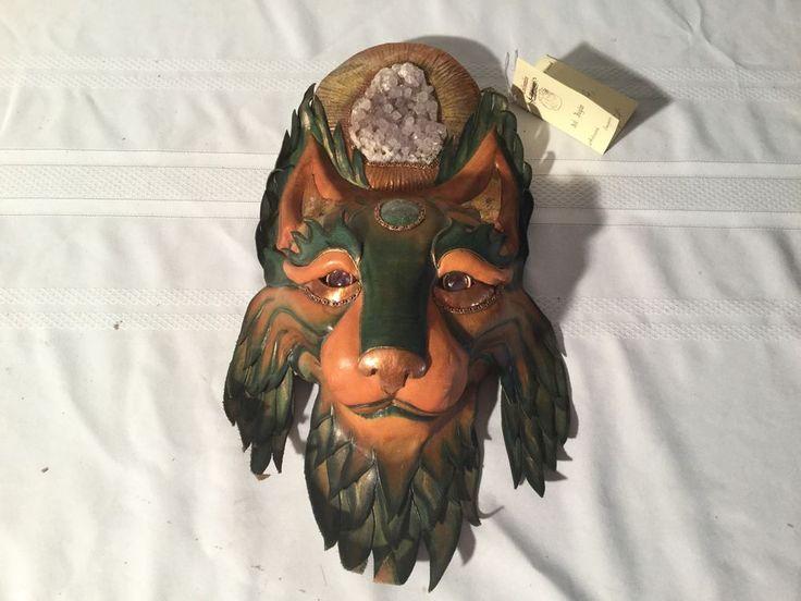 Talisman Del Juglar Handmade Mexico Mask Copper Amethyst Crystal Leather Art