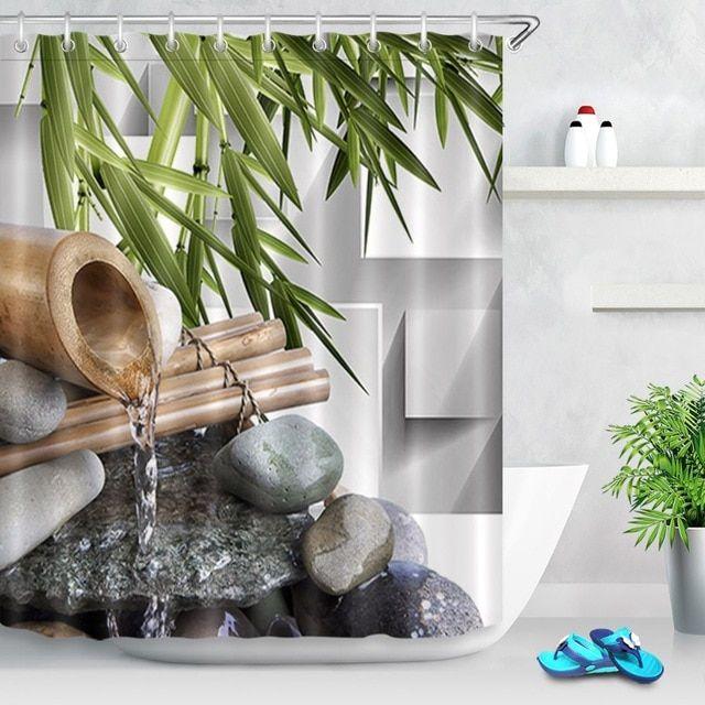 Lb 72 Asian Zen Spring Water Black Stones Shower Curtain Green