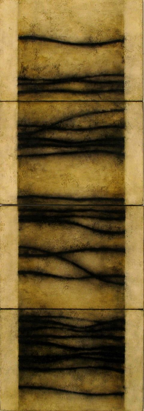 "Luisa Sartori, ""Senanque"", gesso, oil on paper on wood"
