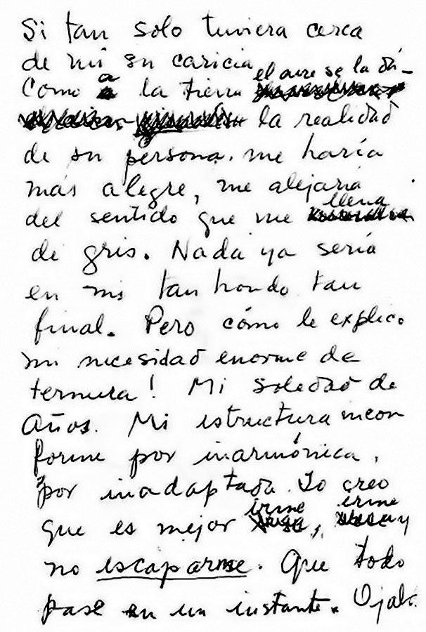 """Più leggo di Frida Kahlo, più ne sono affascinata.  Diciasette giorni prima del loro anniversario di nozze e la sera prima di morire, Frida Kahlo chiamò Diego Rivera e gli consegnò il suo regalo: questo scritto.  """" Se soltanto avessi vicino a me la sua carezza come l'aria accarezza la terra la realtà della sua persona, mi farebbe più felice, mi allontanerebbe dalla sensazione che mi riempie di grigio. [segue]""""  #fridakahlo, #diegorivera, #morte, #solitudine, #dolore, #amore, #poesia…"""