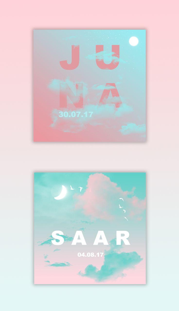Zooo mooi, deze dromerige geboortekaartjes voor meisjes, met wolkjes, maan en mooie roze kleuren.