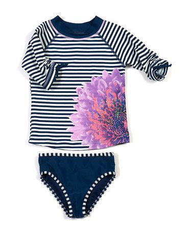 Take a look at this Navy Fleur de Mer Rashguard Set - Infant, Toddler & Girls by Cabana Life on #zulily today!