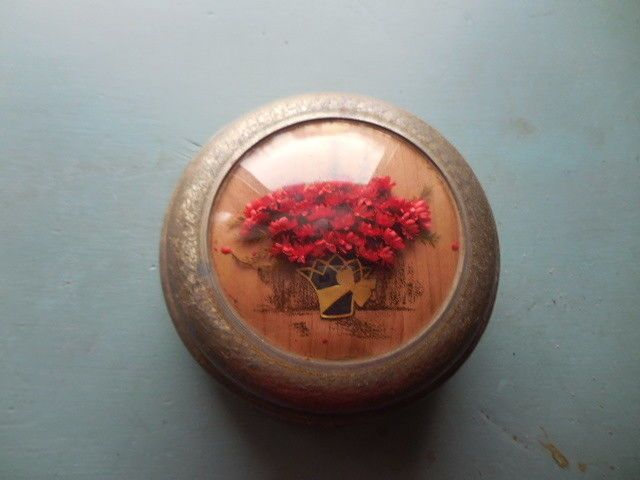 Antique Vintage Early 20th Century Musical Powder Box w/Dried Flowers, It Works!