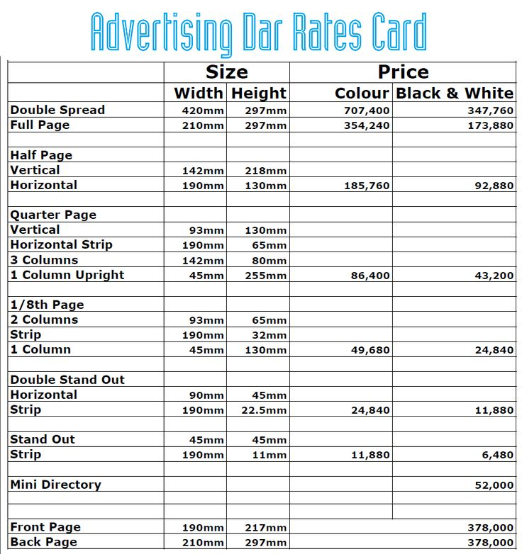 Here are our rates for those looking to advertise on our magazine. Remember that Monday is the deadline!www.advertisingdar.comPrices are exclusive of 18% VAT. Get in touch with us on info@advertisingdar.com | 21116769/2125958#selling #hustle #sale #shoutout #advertisement #homeseller #ad #free #freead #advertising #advert #DaresSalaam #Tanzania #AdvertisingDar #sell #classifieds #classified #magazine #freead #advert #advertisement #useditem #secondhand #Facebook #Twitter #Instagram #social