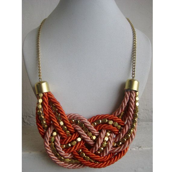 Braided Statement Necklace/Orange Necklace/Bohemian by FootSoles, $27.10