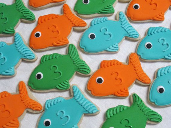 Undersea Theme Fish Decorated Sugar Cookie Favors, Aquarium Birthday Party, Tropical Ocean Theme, Fisherman Fishing Cookies, Custom Cookies