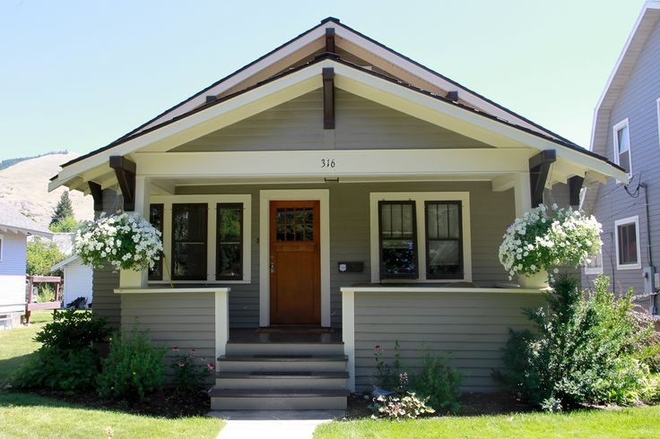 Exterior paint palette light gray with cream and dark for Paint colors that go with brown trim