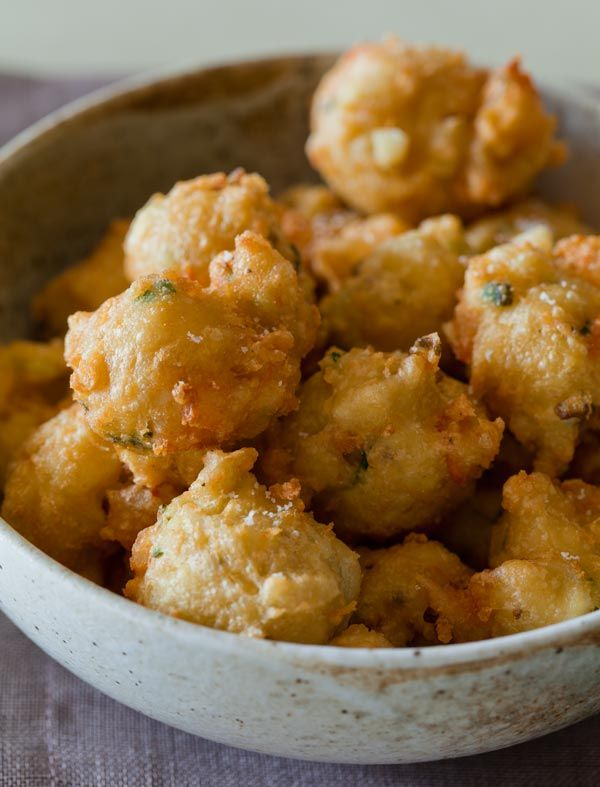 Shrimp fritters with a spicy honey dipping sauce