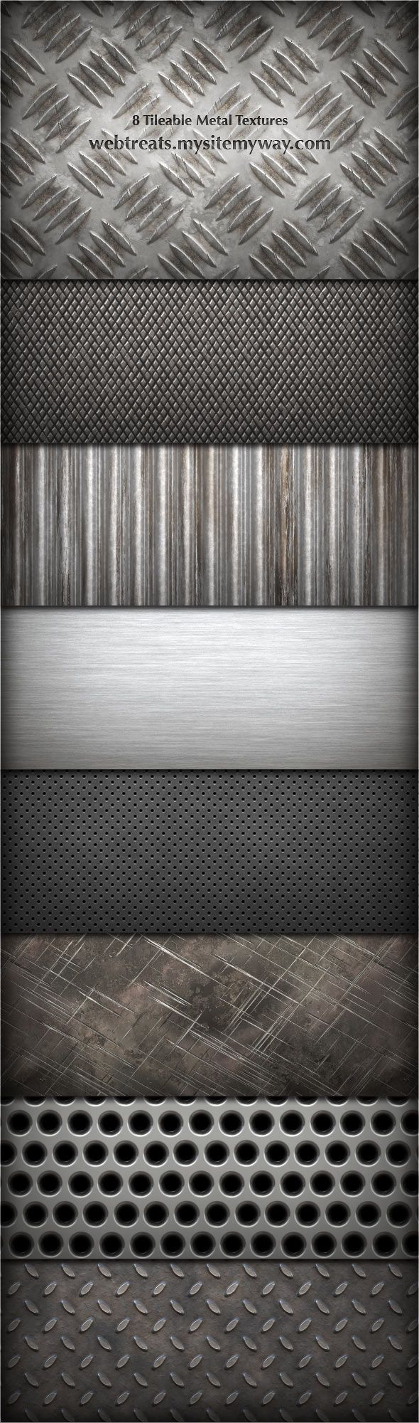 8 Tileable Metal Textures by WebTreatsETC