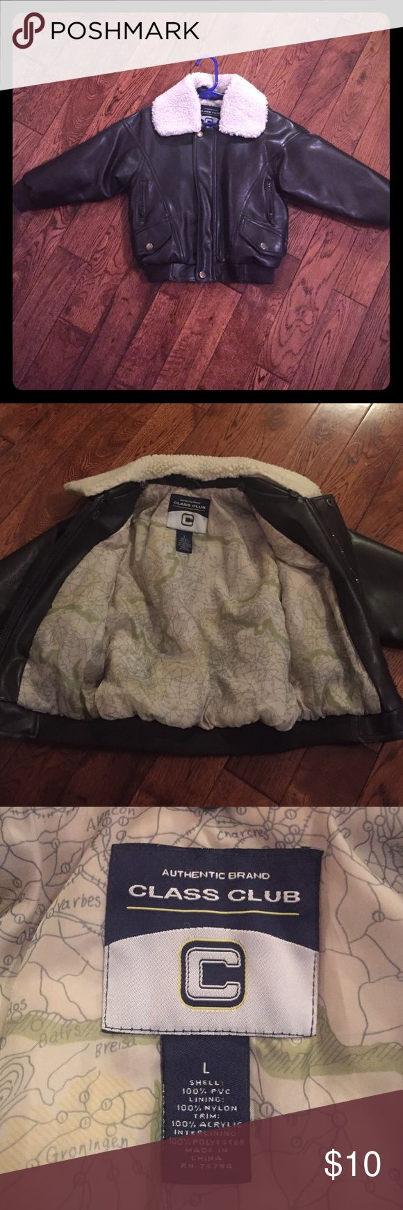 Aviator jacket This is the cutest coat!  Removable color.  Perfect condition with no stains or rips.  Tag says size large but I would say it is suitable for kids wearing a size 5-7. Jackets & Coats Puffers