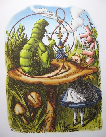 ALICE AND THE CATERPILLAR'S MUSHROOM colour print by Sir ... Alice In Wonderland Rabbit Drawings
