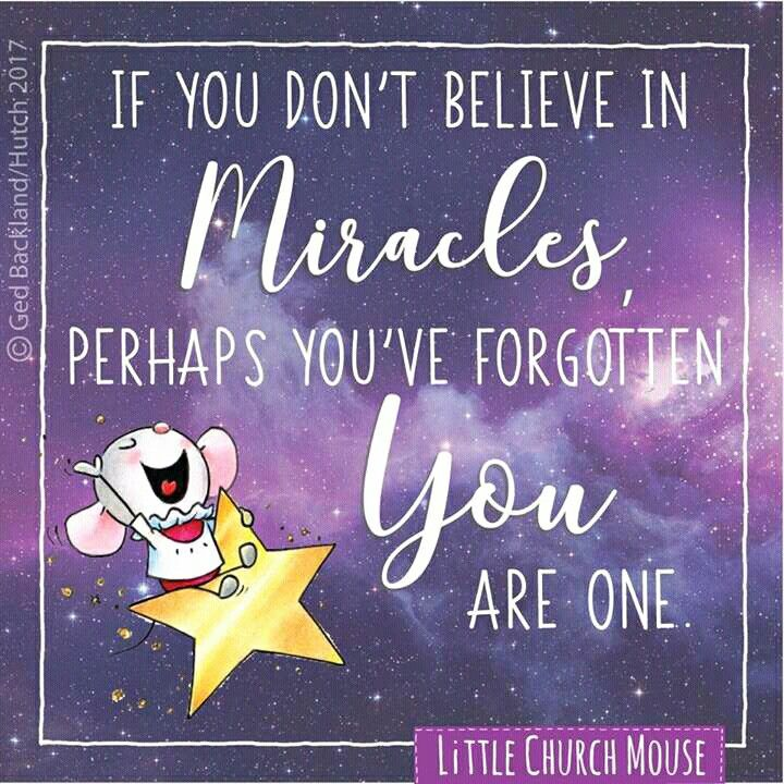 If you don't believe in miracles perhaps you have forgotten you are one