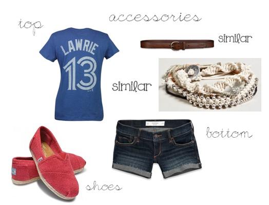 toronto blue jays t-shirt, abercrombie + fitch denim shorts, abercrombie + fitch leather belt, american eagle friendship bracelets, fushia toms