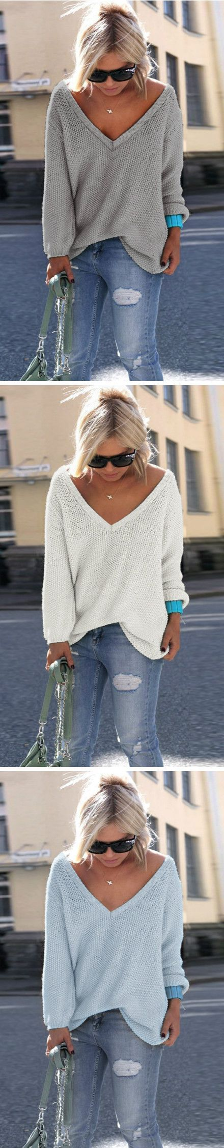 V neck sweater is the perfect choice for daily casual. This one is well-designed in comfortable fabric. Buy it at http://OASAP.com!