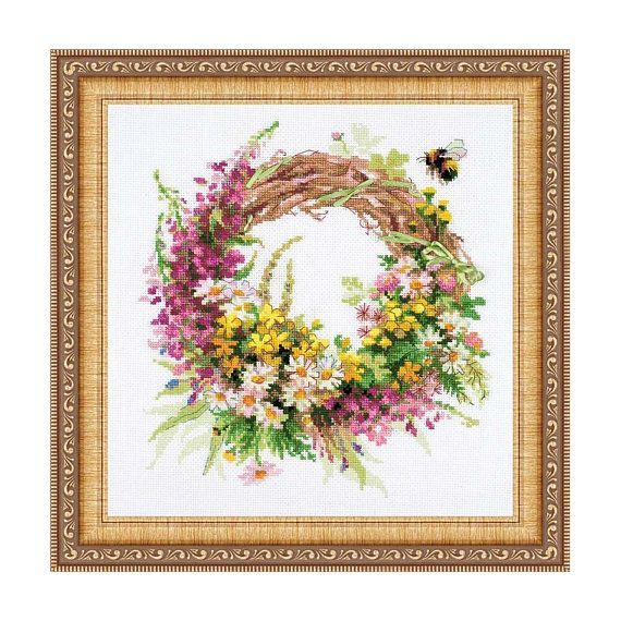 Counted Cross Stitch Kit  Wreath with willow-herb Riolis