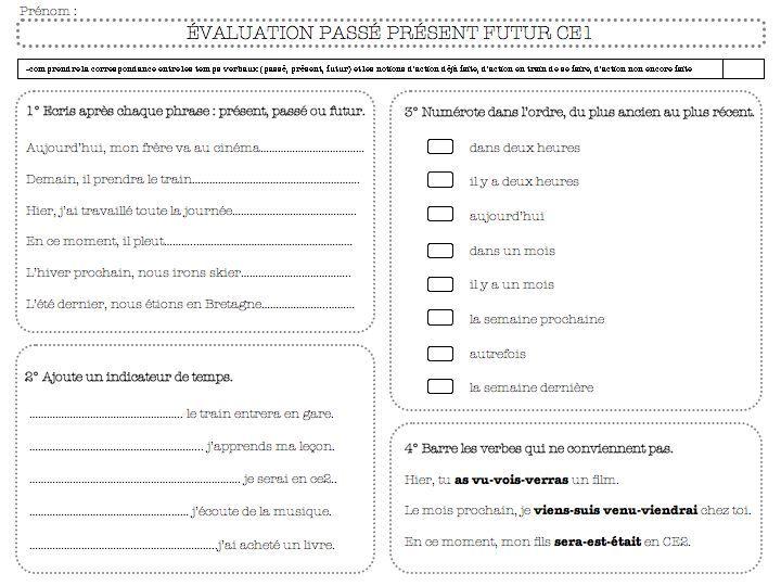 évaluation grammaire : passé-présent-futur -ce1 | Passé présent futur, Evaluation ce1 et Ce1