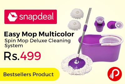 Snapdeal #Bestsellers Product is offering 50% off on Easy Mop Multicolor Spin Mop Deluxe Cleaning System by Welcome Group Just at Rs.499. keep the floors and tiles of your home clean and proper. The set contains one bucket, one handle and two microfibre mop heads.   http://www.paisebachaoindia.com/easy-mop-multicolor-spin-mop-deluxe-cleaning-system-just-at-rs-499-snapdeal/