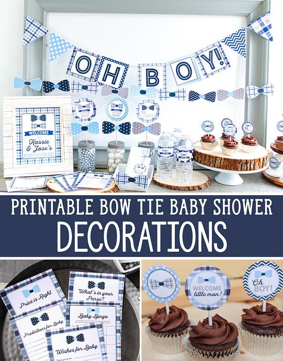 2df655cef0751 Boy Baby Shower Decorations in Gray, Navy, and Light Blue, printable ...