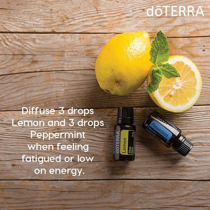 Peppermint and Lemon essential oil are great to use when feeling low on energy. You will also love the refreshing and uplifting aroma when these two are diffused together.