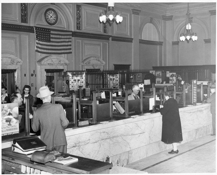 c 1920s - 1930s, bank teller stations Bank of Eureka - bank teller responsibilities