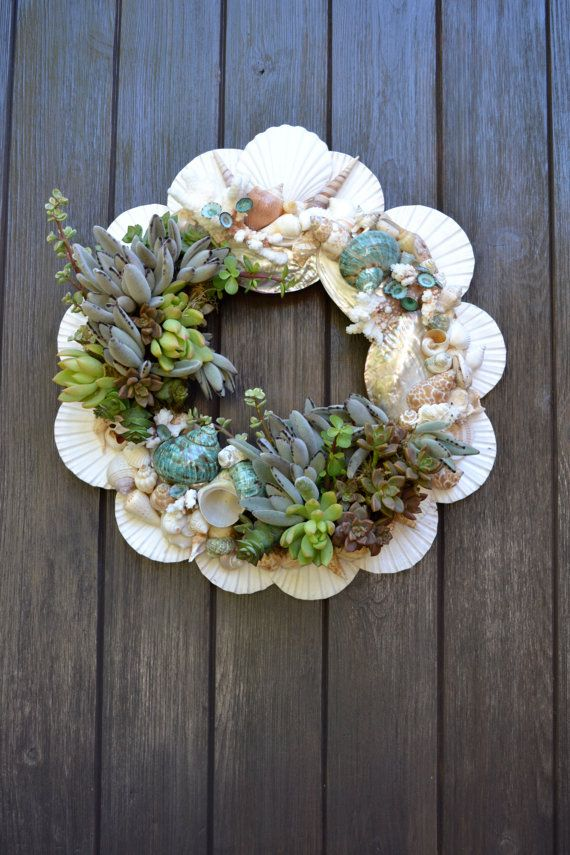 Would be pretty with air plants. Glue shells on wreath base, adds plants and decorations, mist occasionally.