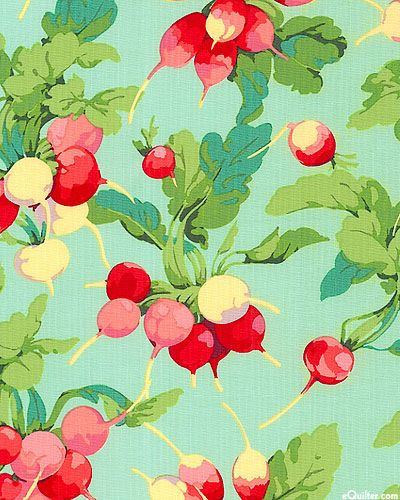 Market Mix - Radish - Garden - Quilt fabrics from www.eQuilter.com.  This would make a good fabric for One block Wonder quilt.