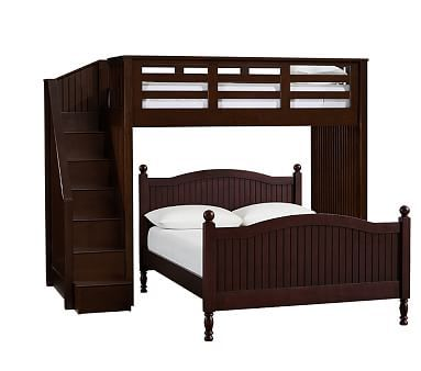 Catalina Stair Loft Bed, Full Set Cocoa