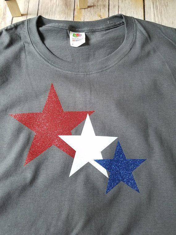0fe86da6e4ec RED white and Blue Star T shirt Texas Georgia Alabama fourth of July  Memorial Day America Unisex T shirt America Glitter