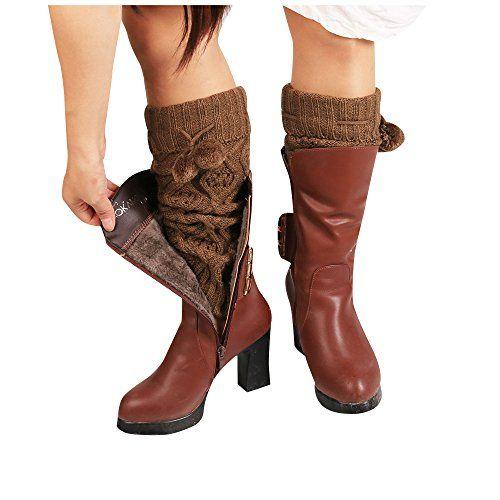 WILLTOO 2016 Women Winter Warm Knitted Leg Warmers Boot Crochet Long Socks Khaki >>> Read more  at the image link.